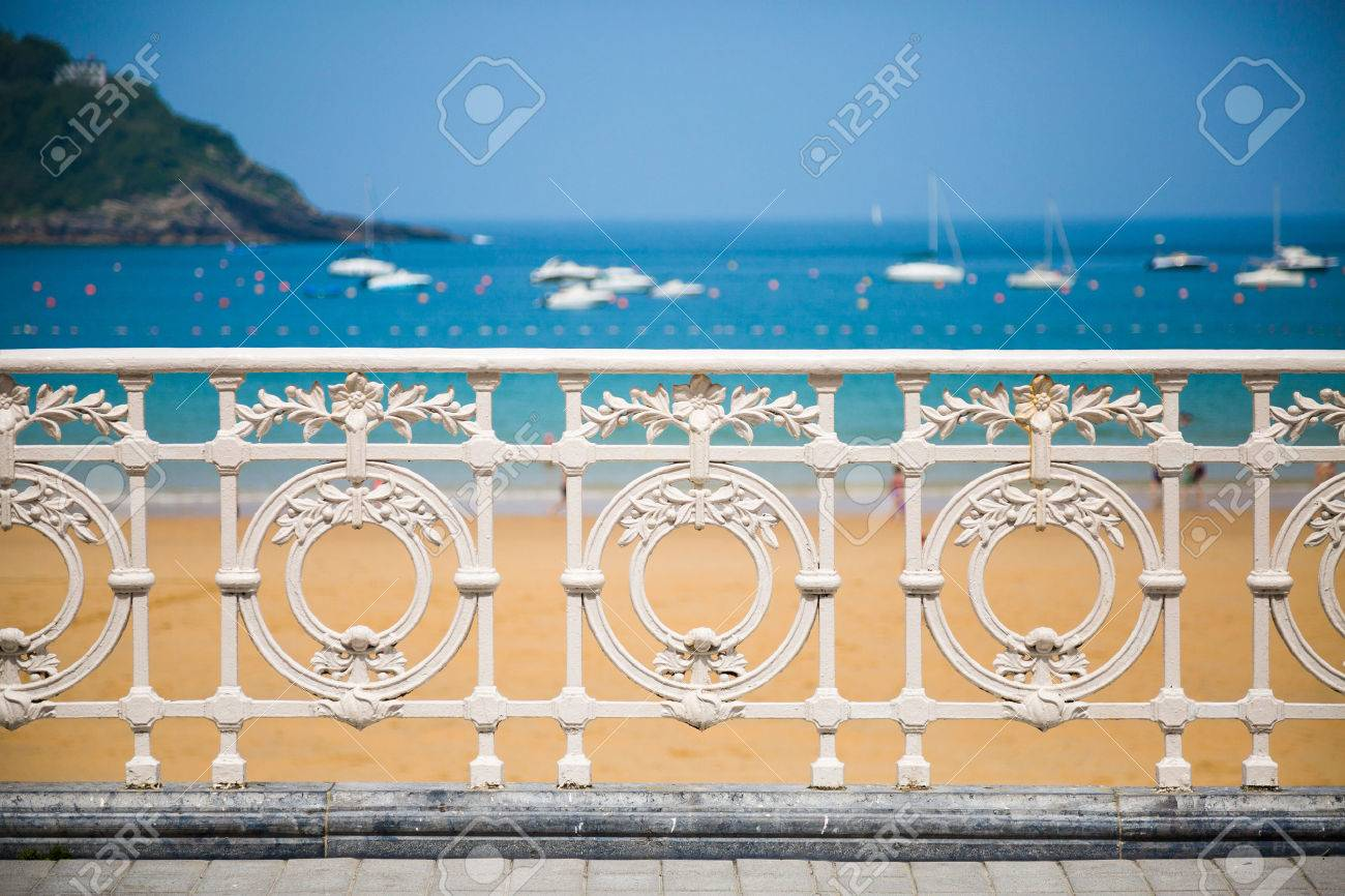 Railing of La Concha beach in San Sebastian, one of the most famous icon of the city - 61481491