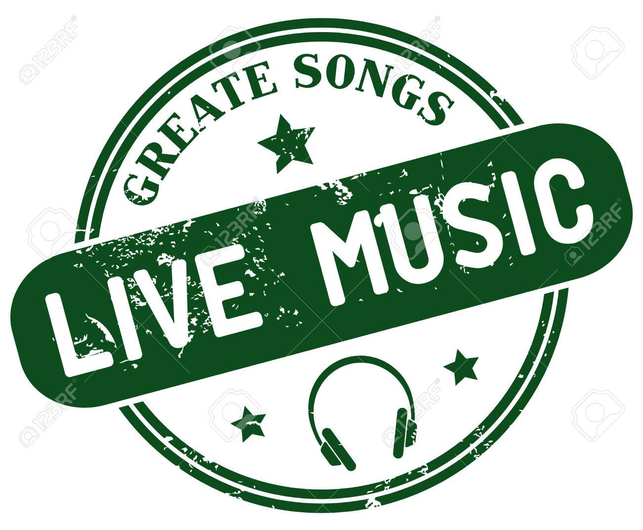Live Music Stamp Royalty Free Cliparts Vectors And Stock