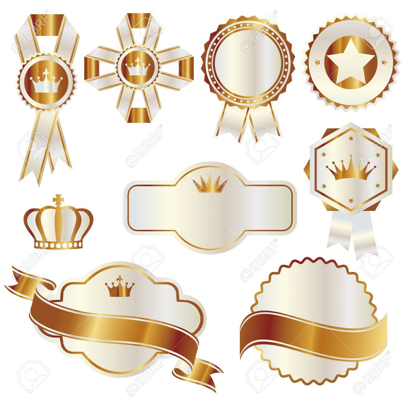 set of gold and white emblem Stock Vector - 11448961