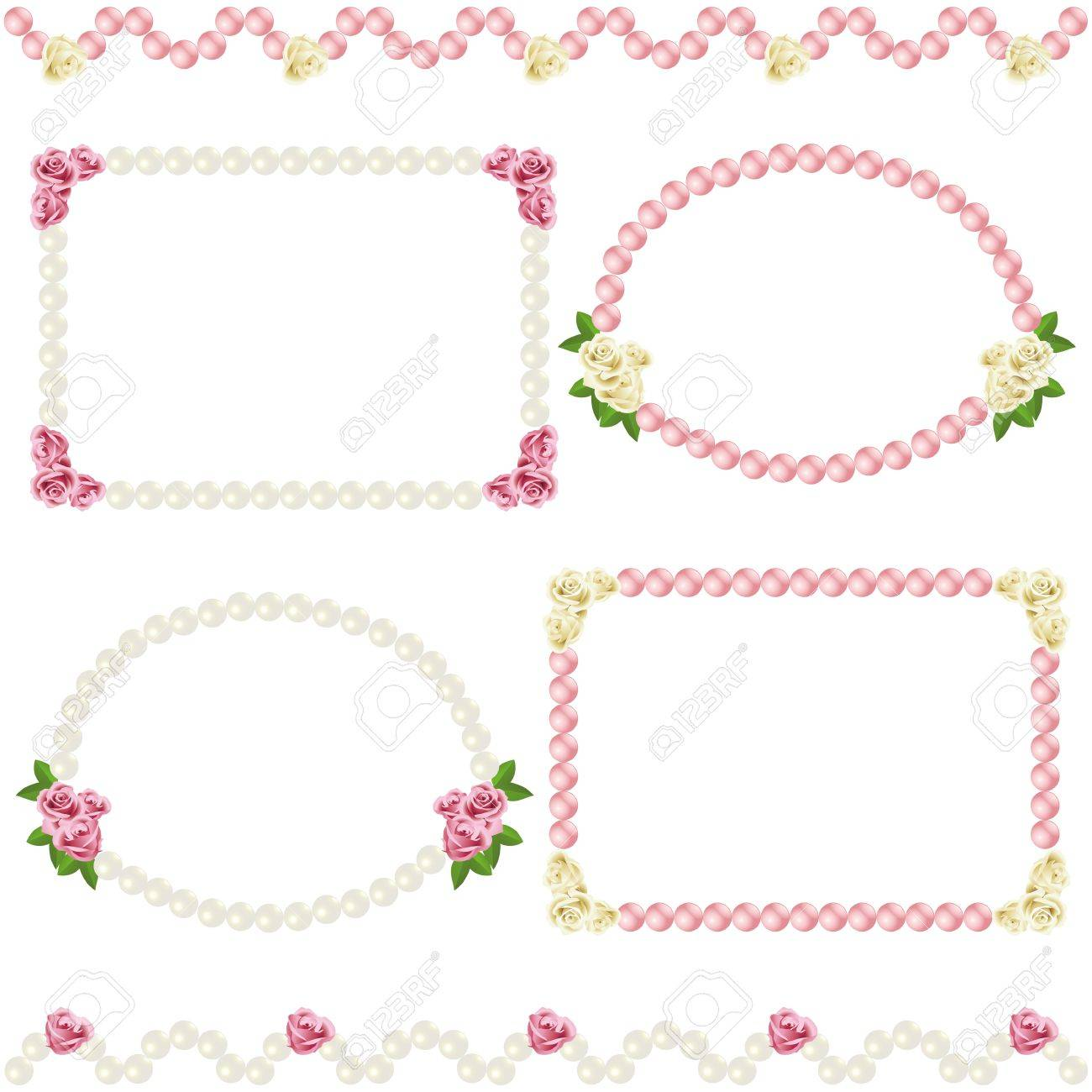 vector rose and pearl frame