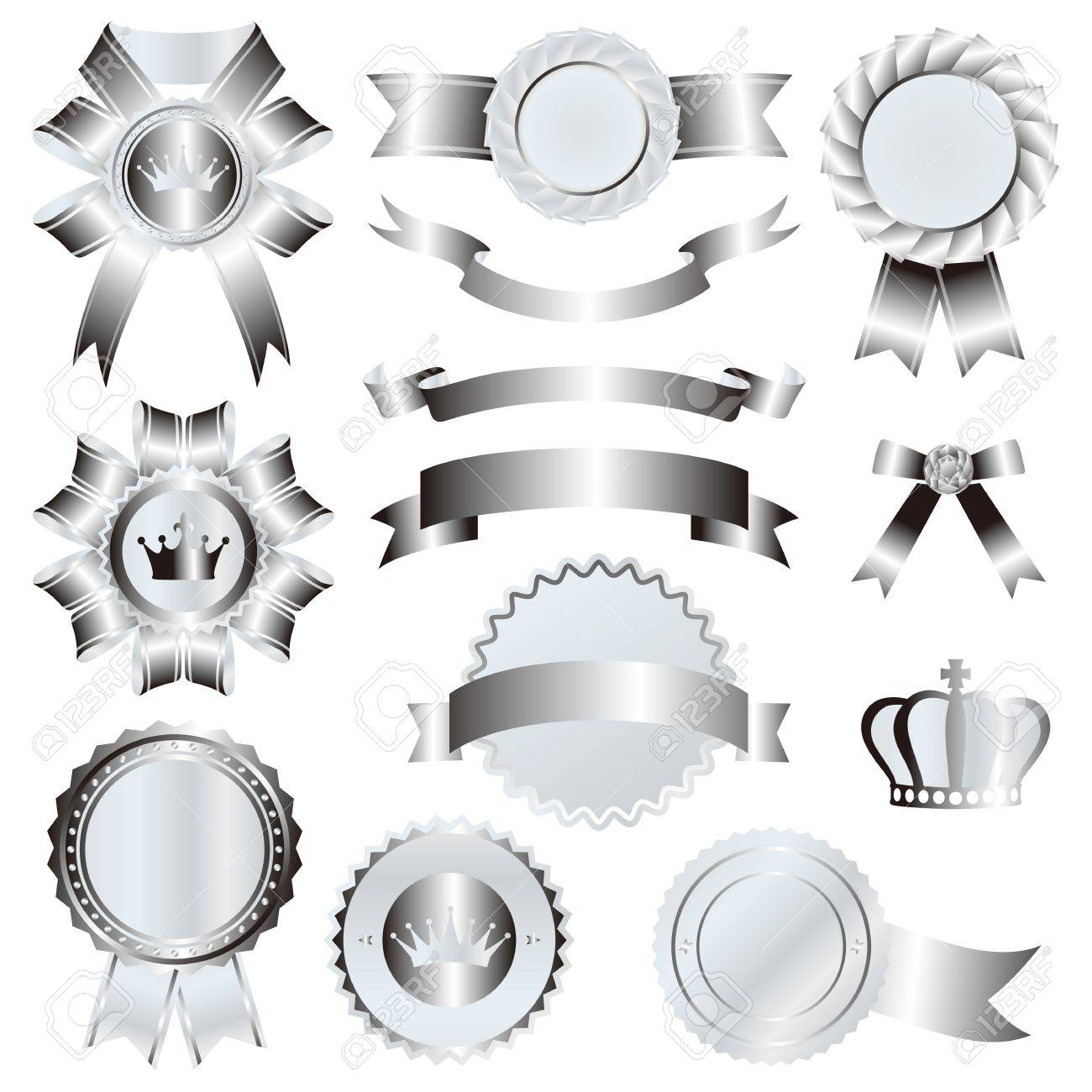 silver emblem set Stock Vector - 11991293