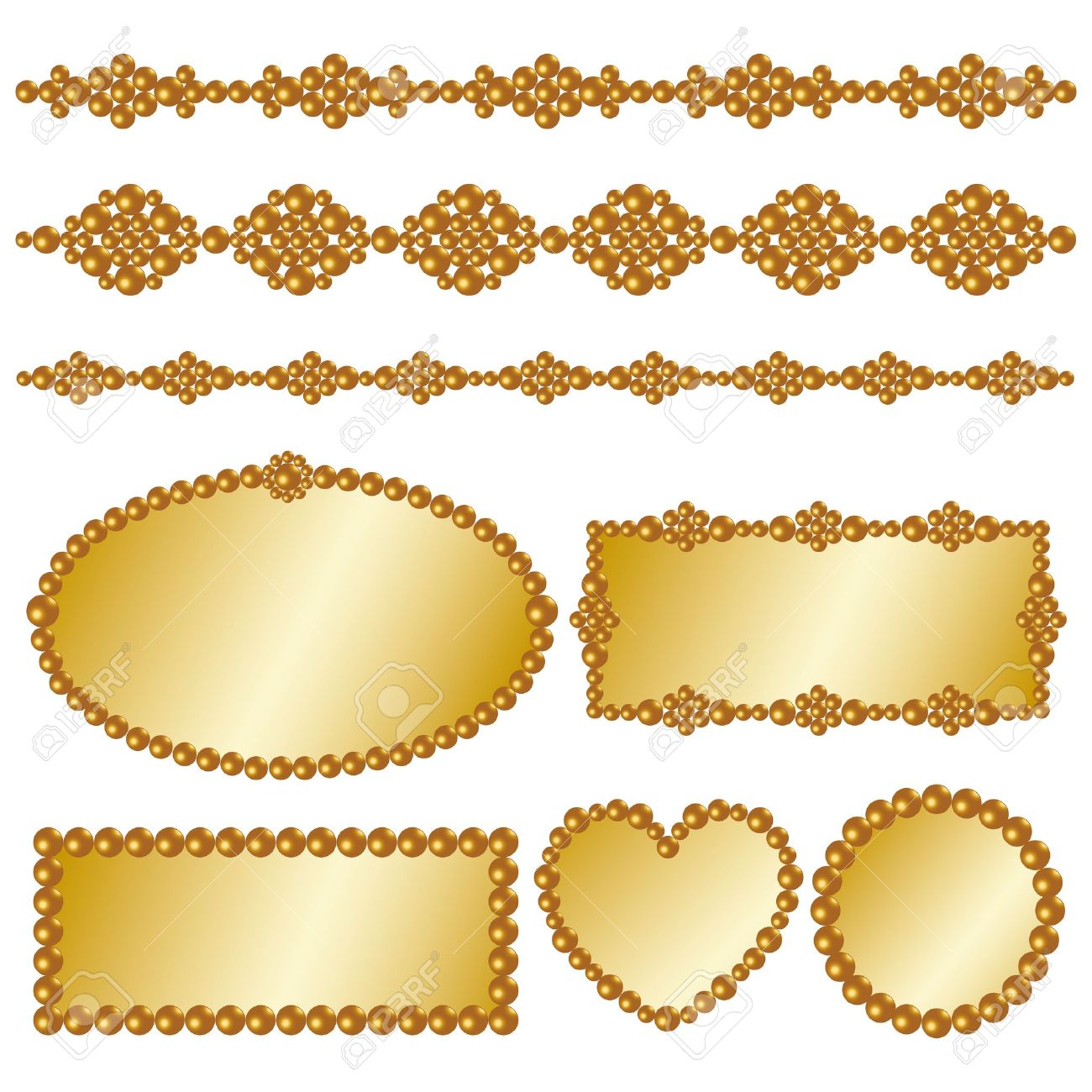Gold Pearl Frame Royalty Free Cliparts Vectors And Stock