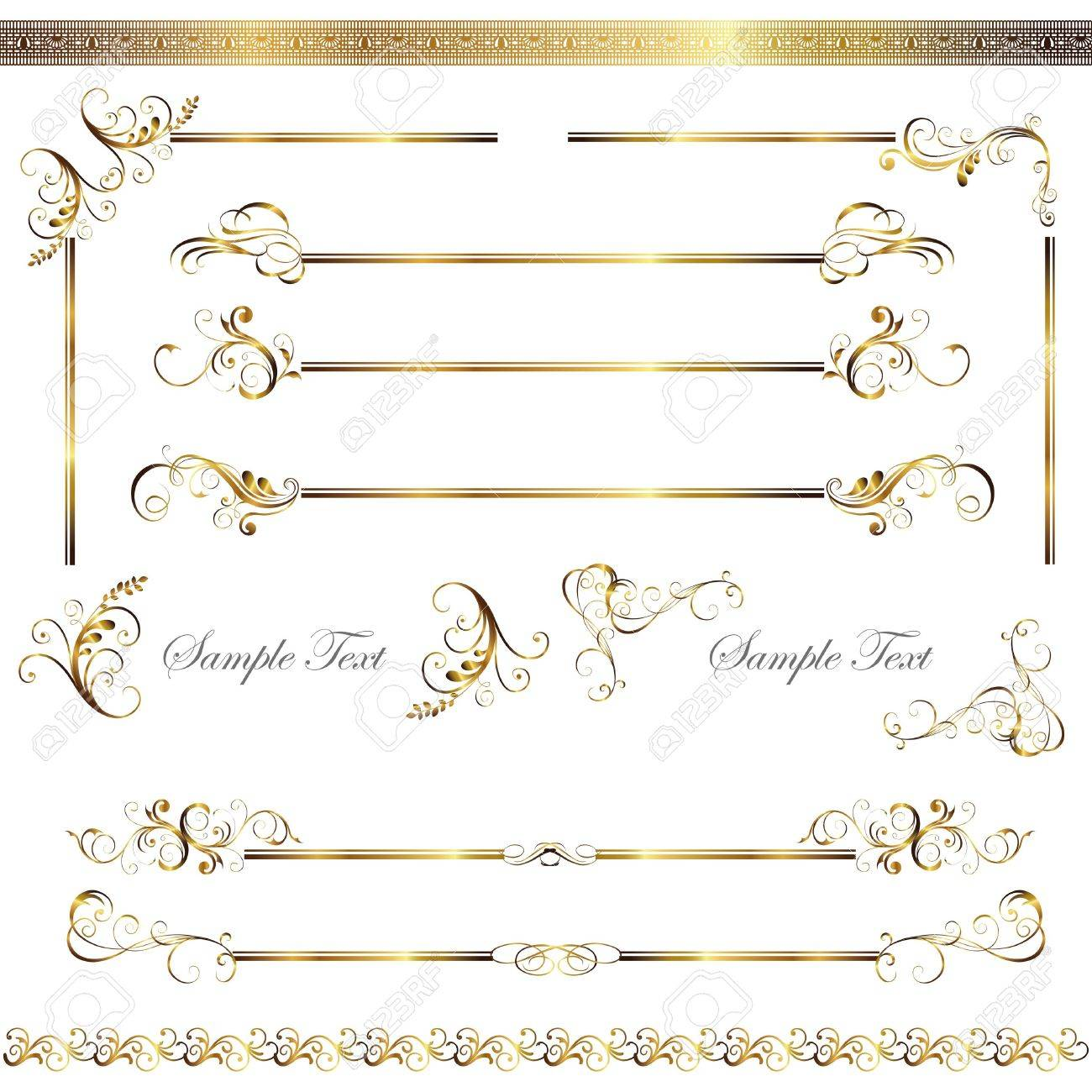 gold line and frame set Stock Vector - 11991329
