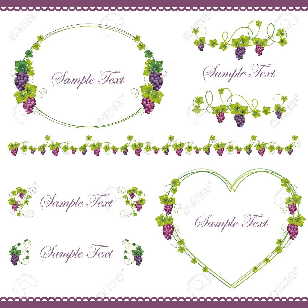 grape frame set Stock Vector - 12183003