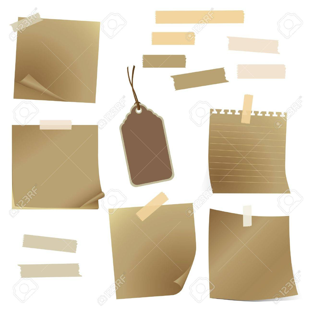 set of old paper and tape Stock Vector - 12483004