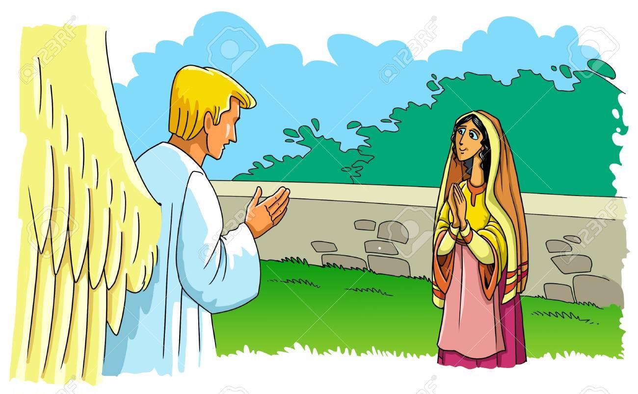 El Angel Gabriel Se Aparecio A La Virgen Maria Y Le Informa Sobre El Nacimiento De Su Hijo