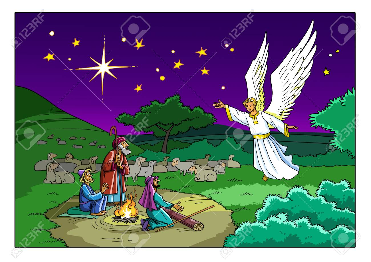 The Angel visits the Shepherds on the Field and tells them about the Birth of the Savior in the city of Bethlehem. - 90695586