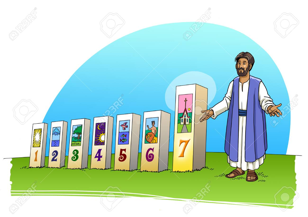 Jesus Christ And The Seven Days Of Creation Stock P O 103786131