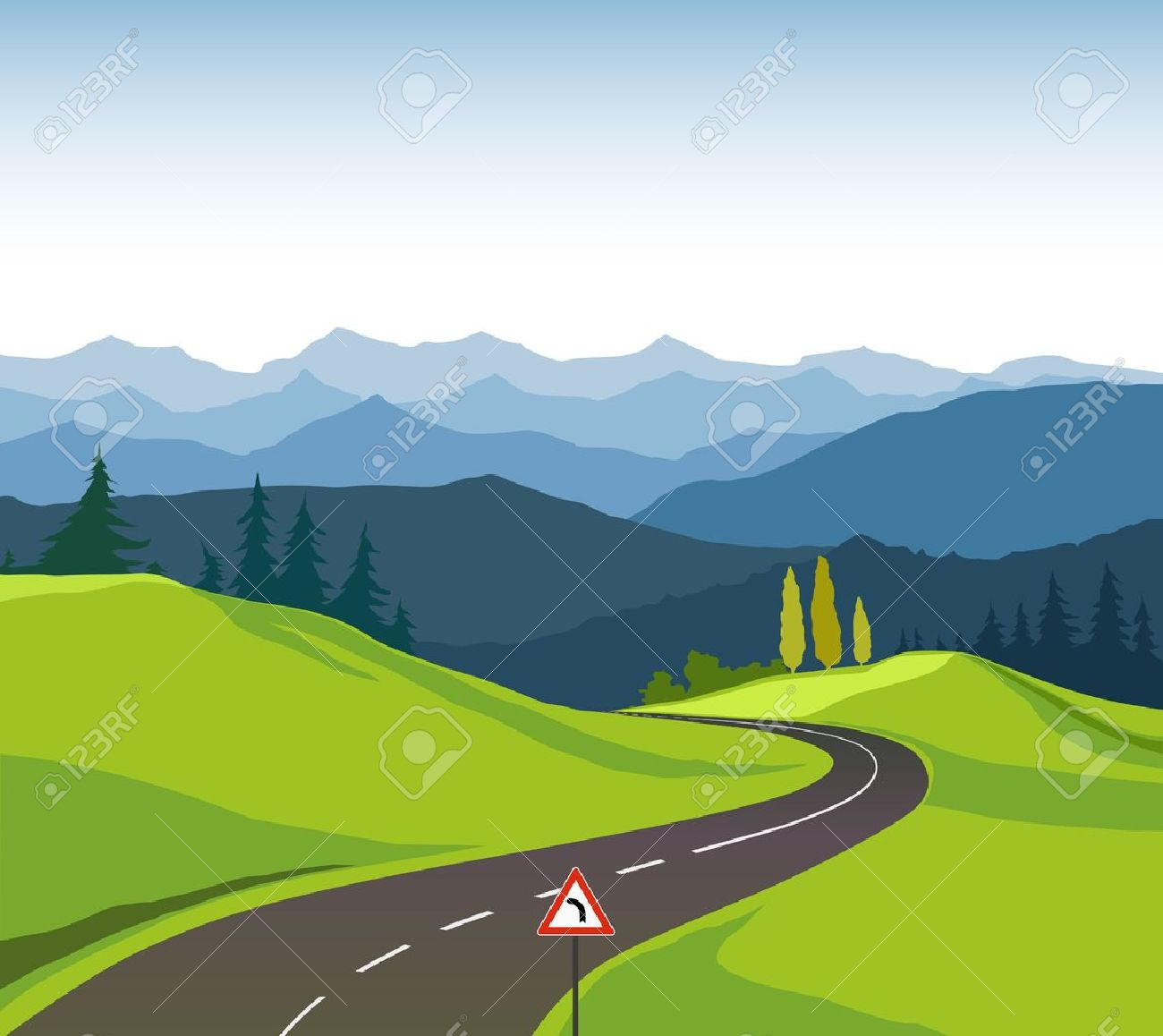Road and landscape Stock Vector - 19981128