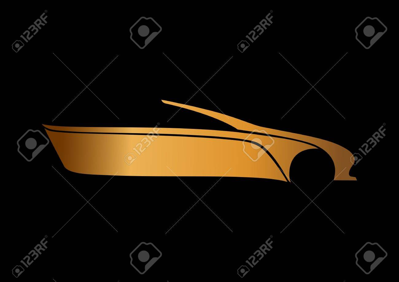 Golden auto logo over black Stock Vector - 20238724