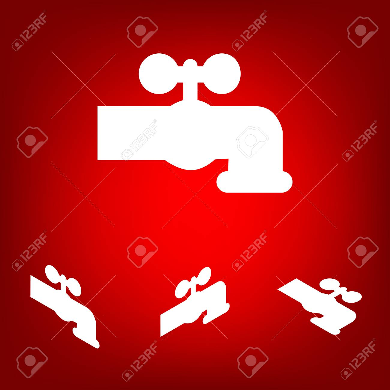 The Water Faucet Icon Set. Isometric Effect. White On The Red ...
