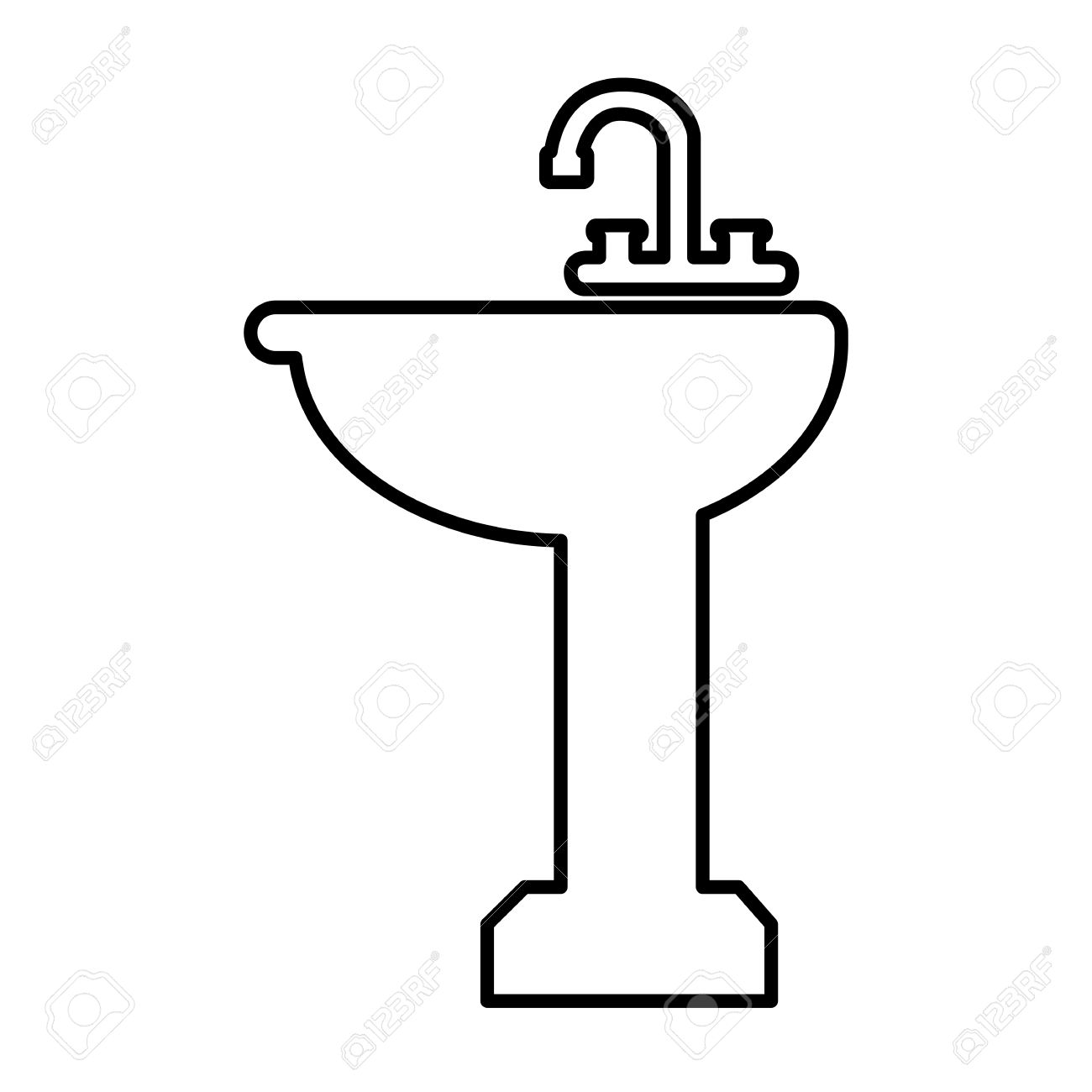 Bathroom sink clip art - Bathroom Sink Line Icon Vector Illustration On White Background Stock Vector 50824031
