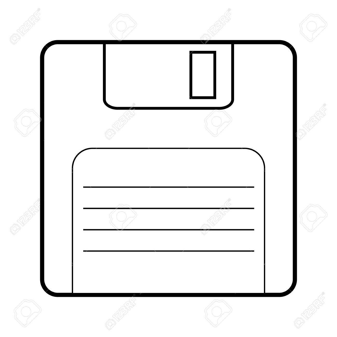 Floppy disk line icon. Vector illustration on white background - 50824934