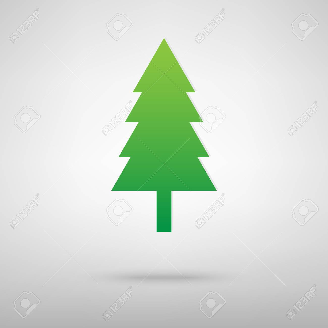 New year tree icon with shadow on gray background - 50761753