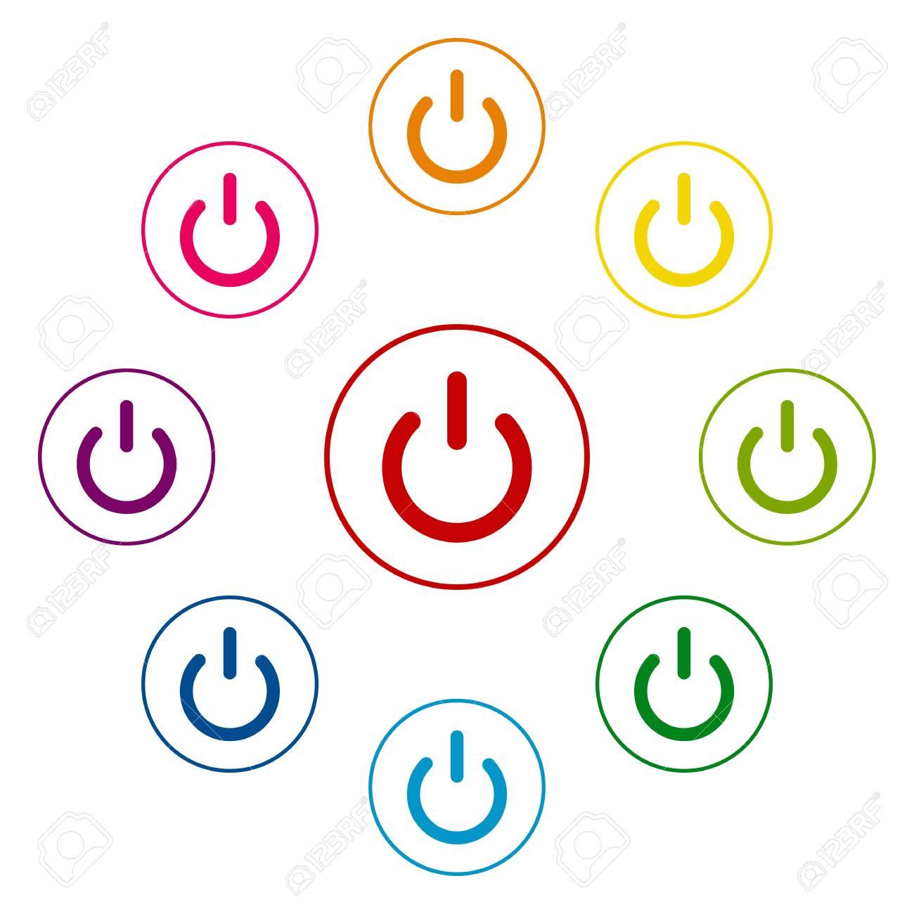 Ein Aus-Schalter Symbole Farbenfrohes Auf Weißem Hintergrund ...