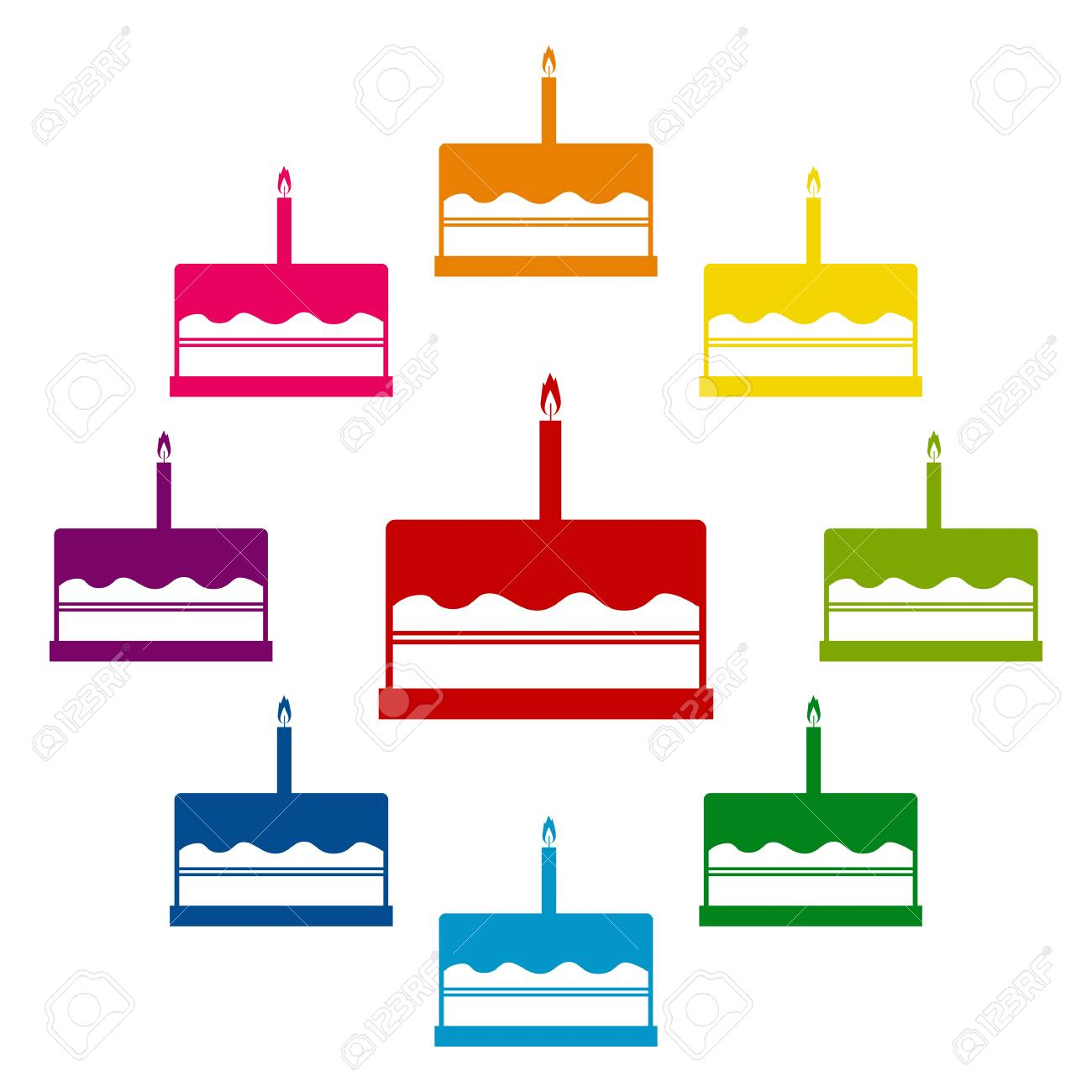 Birthday Cake Icons Colorfull Set On White Background Royalty Free