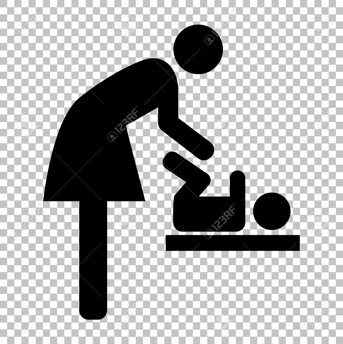Symbol For Women And Baby Baby Changing Flat Style Icon On