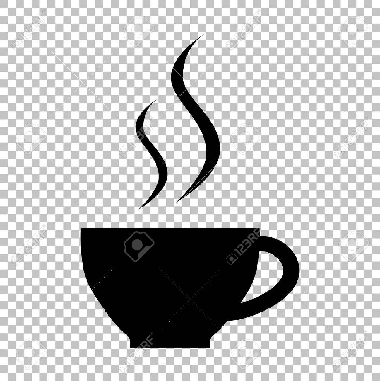 cup of coffee sign flat style icon on transparent background