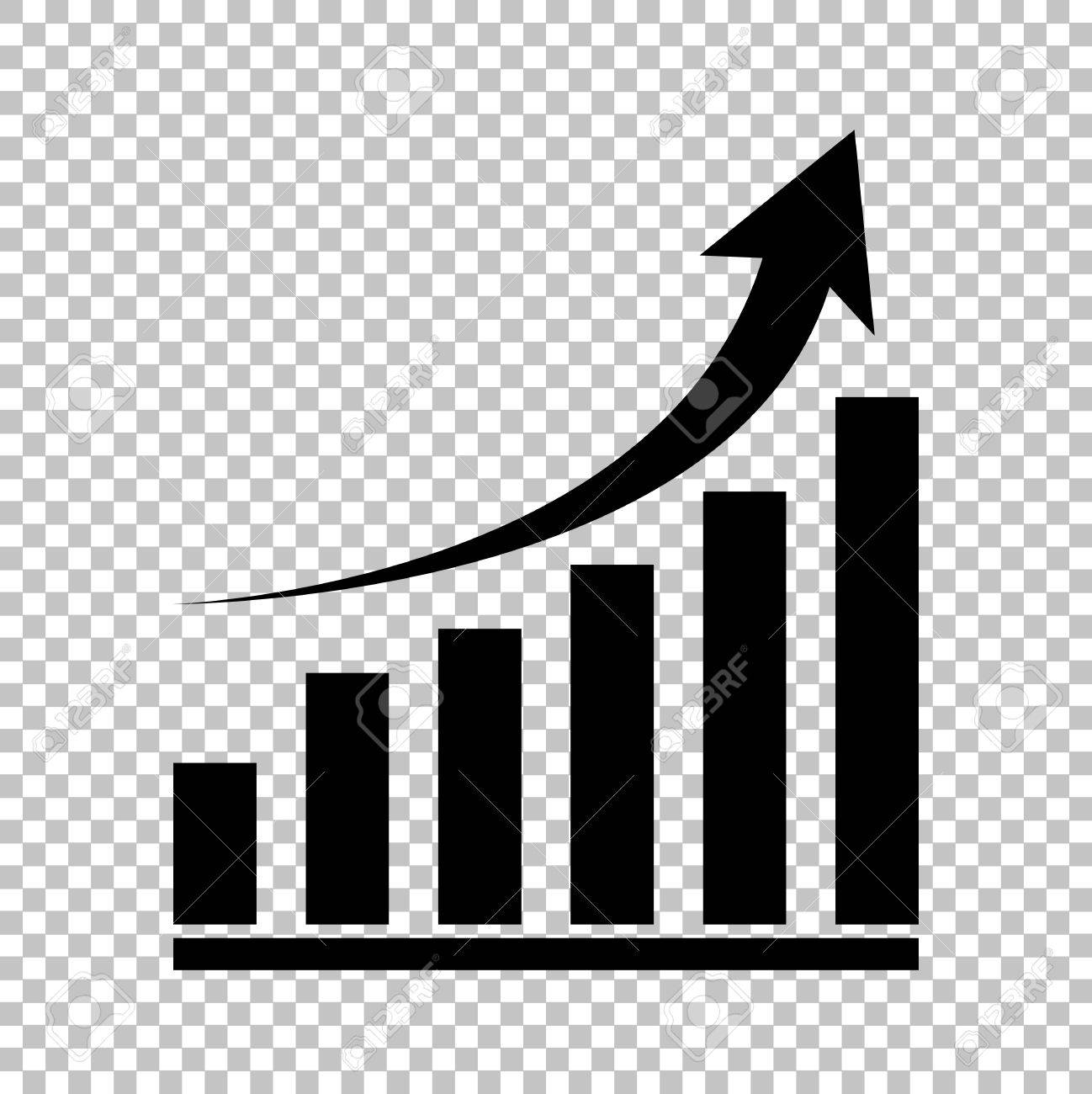 Growing graph sign. Flat style icon on transparent background - 52163159