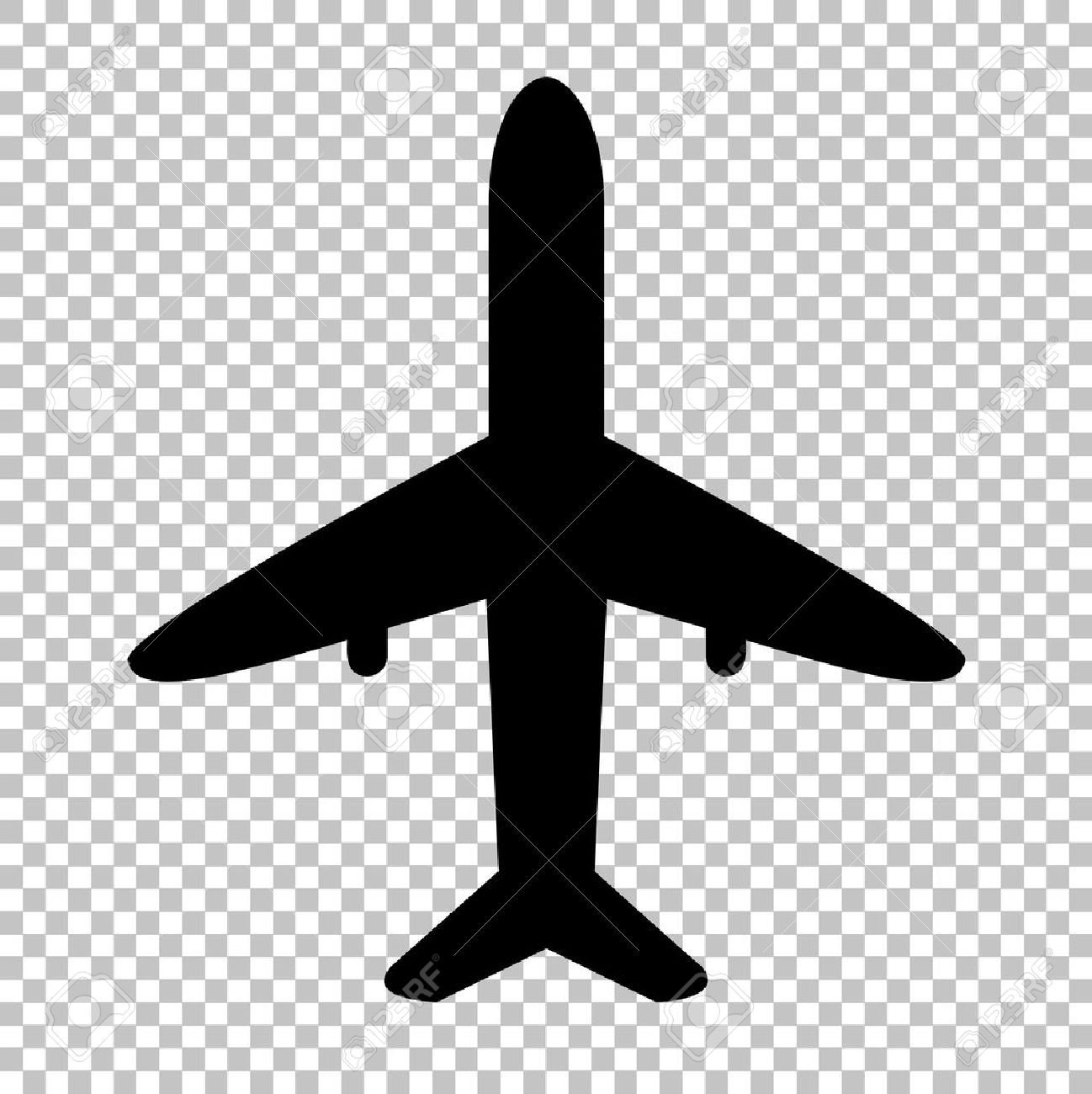 Airplane Sign Flat Style Icon On Transparent Background Stock Vector