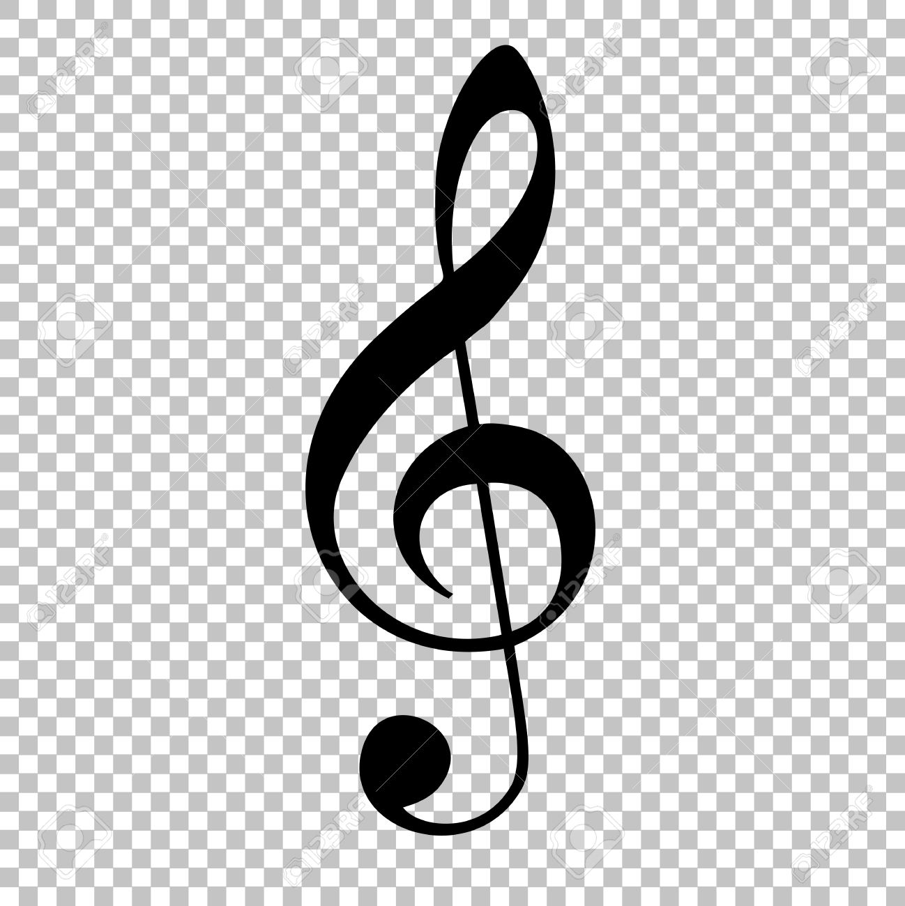 Music violine clef sign  Flat style icon on transparent background