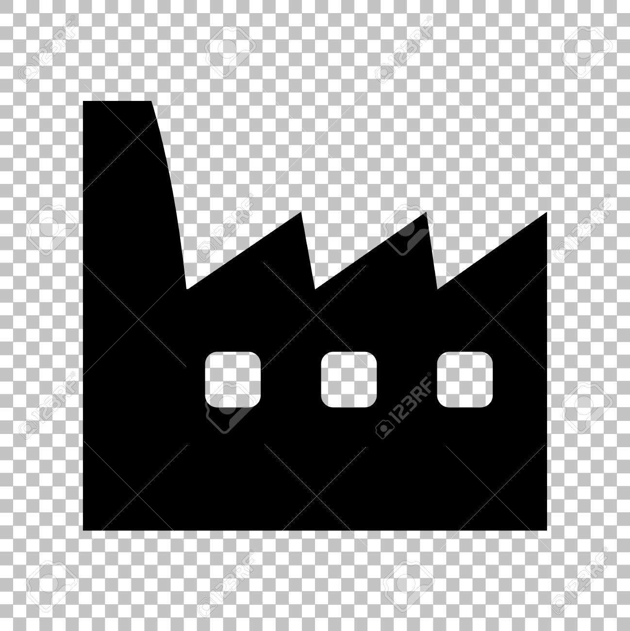 factory sign flat style icon on transparent background royalty free