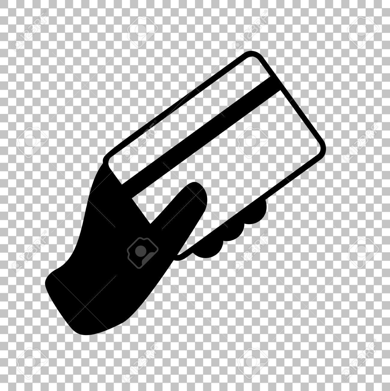 hand holding a credit card flat style icon on transparent