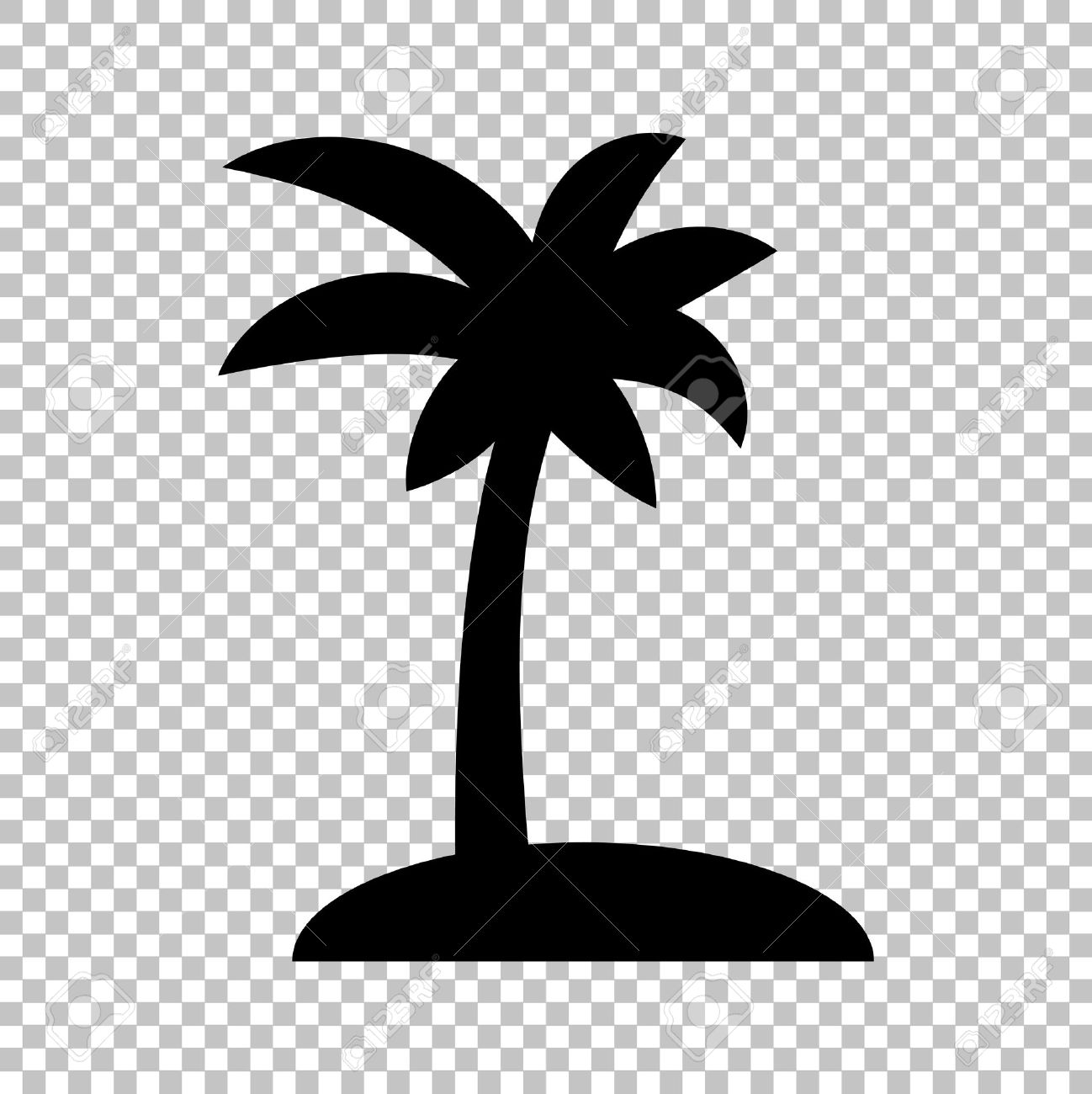 Coconut Palm Tree Sign Flat Style Icon On Transparent Background
