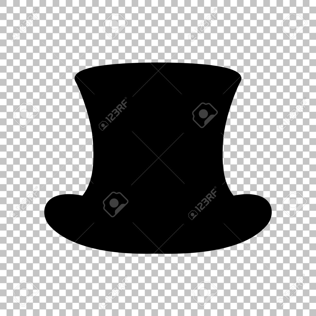 Top hat sign. Flat style icon on transparent background Stock Vector -  52185022 a68847c3582