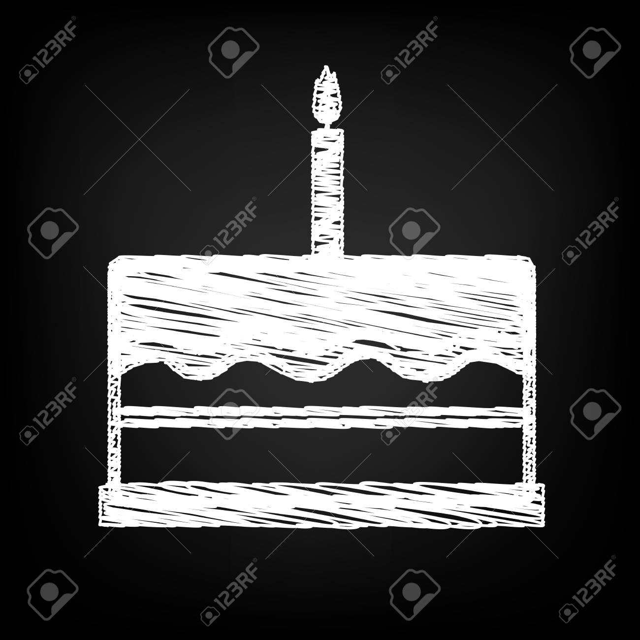 Birthday Cake Icon With Chalk Effect Vector Illustration Royalty