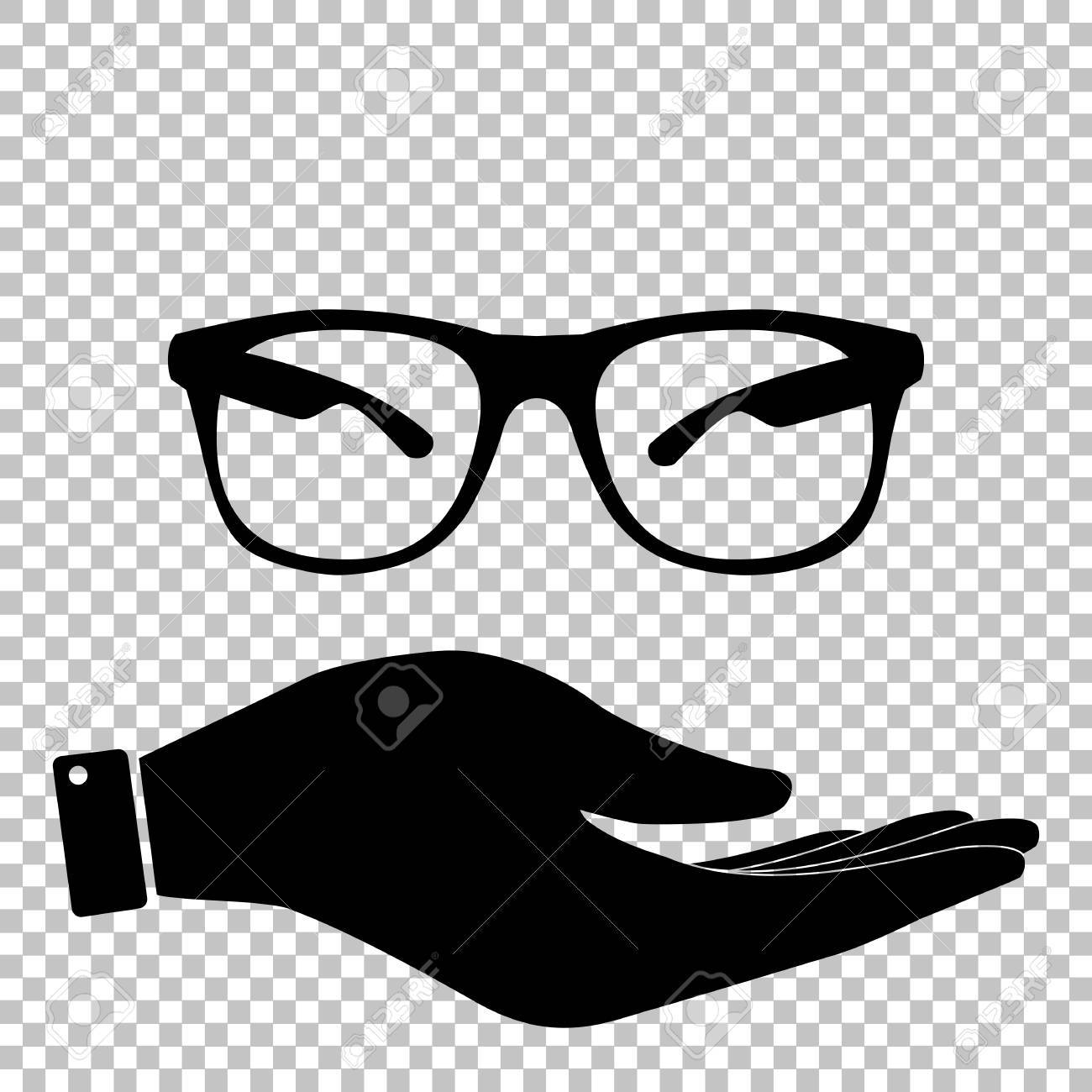 Sunglasses Sign Save Or Protect Symbol By Hand Royalty Free