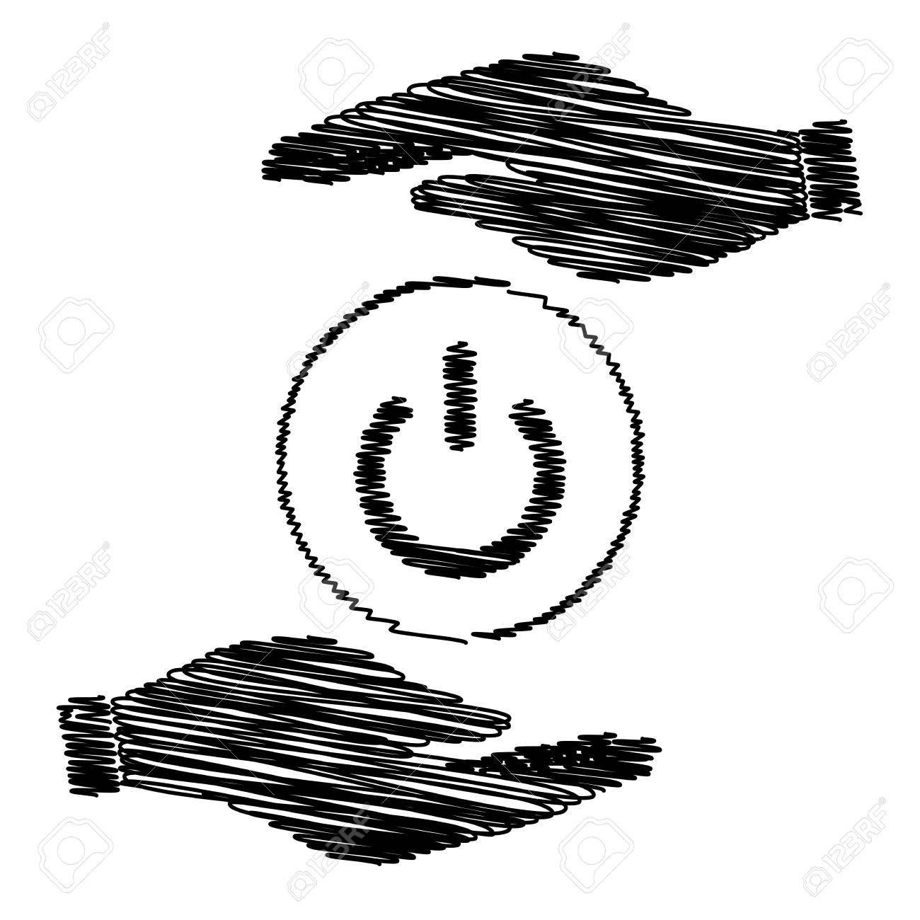 Ein Aus-Schalter Zeichen. Speichern Oder Schützen Symbol Von Händen ...