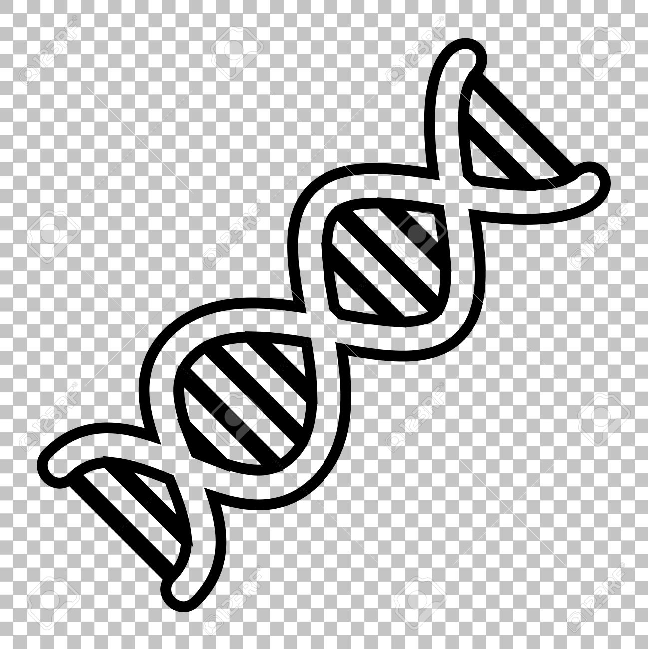 the dna sign. line icon on transparent background royalty free