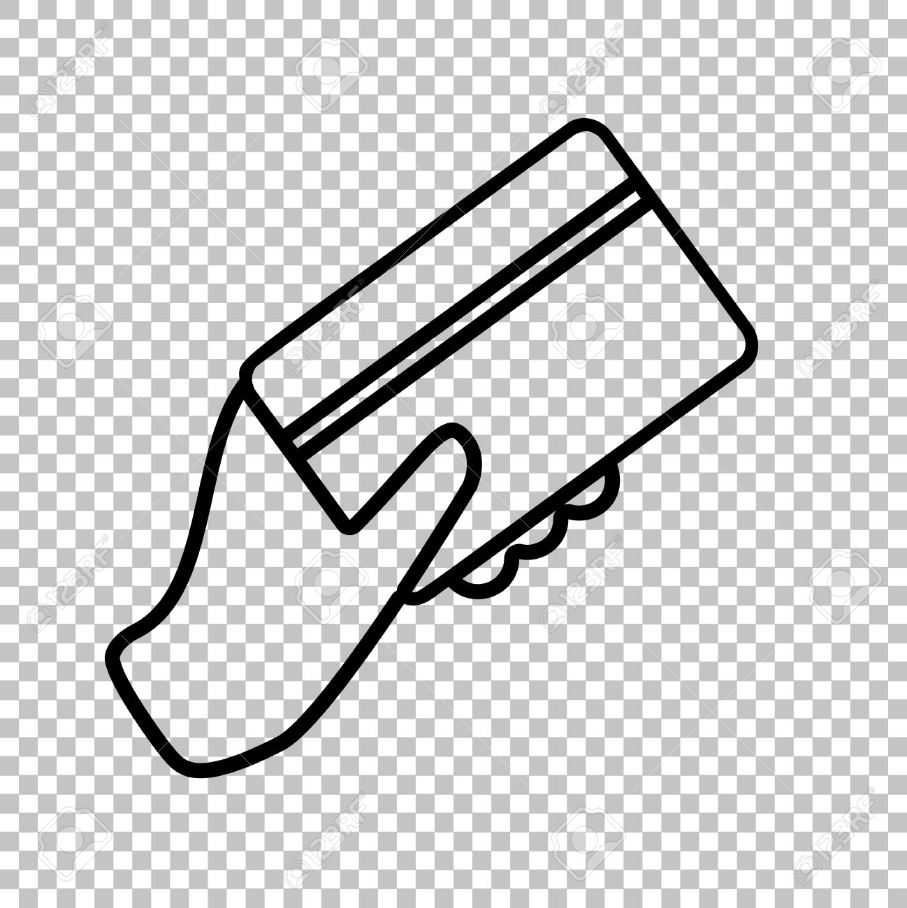 hand holding a credit card line icon on transparent background