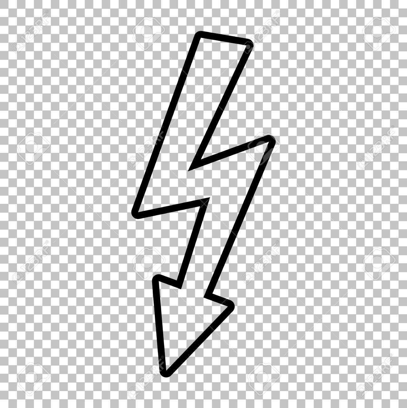 High Voltage Danger Sign. Line Icon On Transparent Background ...