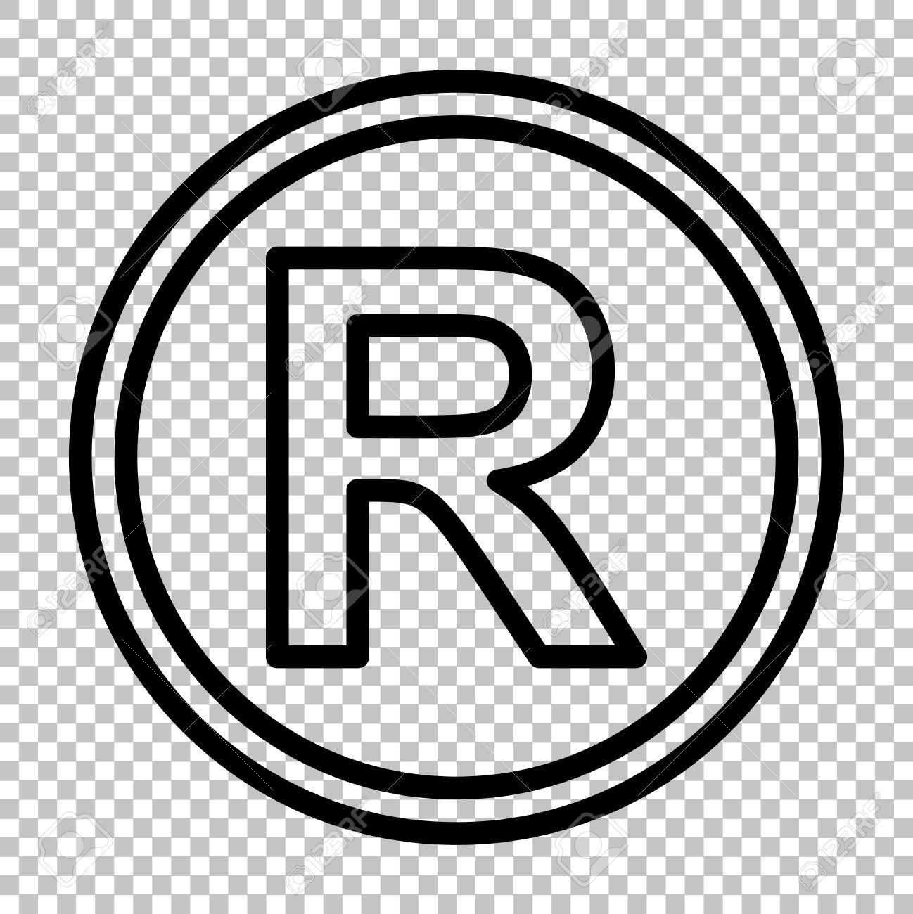 registered trademark sign line icon on transparent background