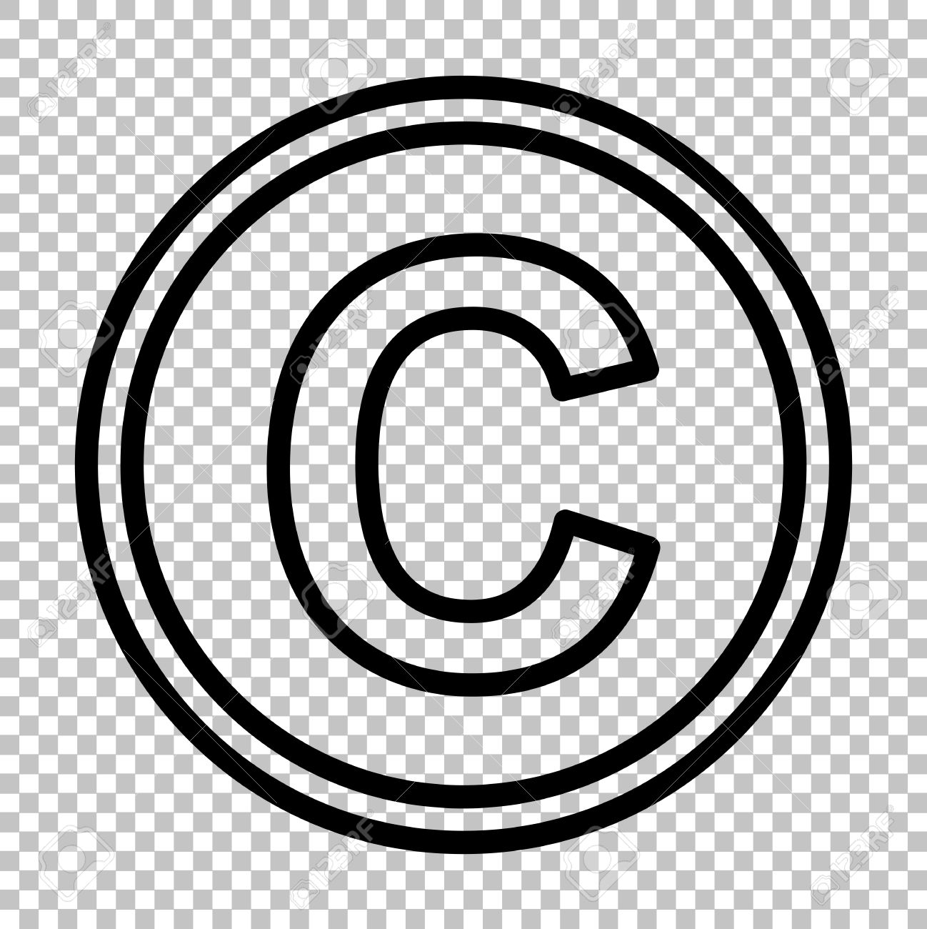 copyright sign line icon on transparent background royalty free Copyright Warning copyright sign line icon on transparent background stock vector 53561502