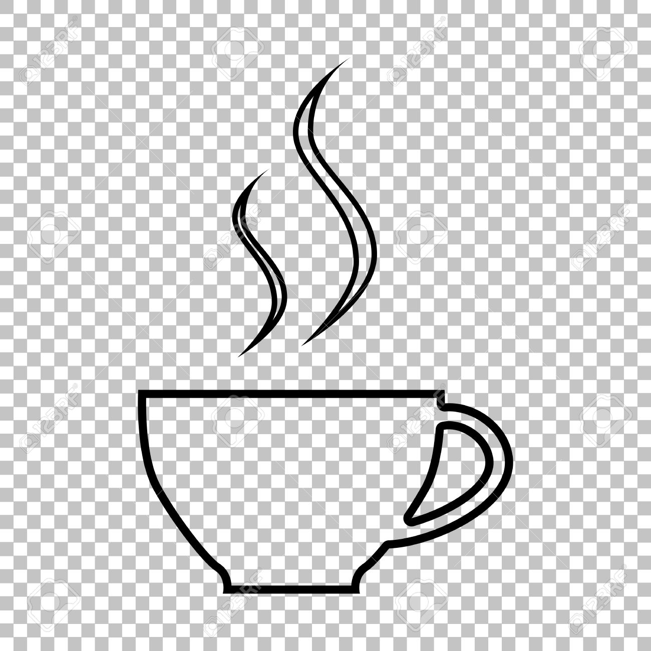 cup of coffee line vector icon on transparent background royalty