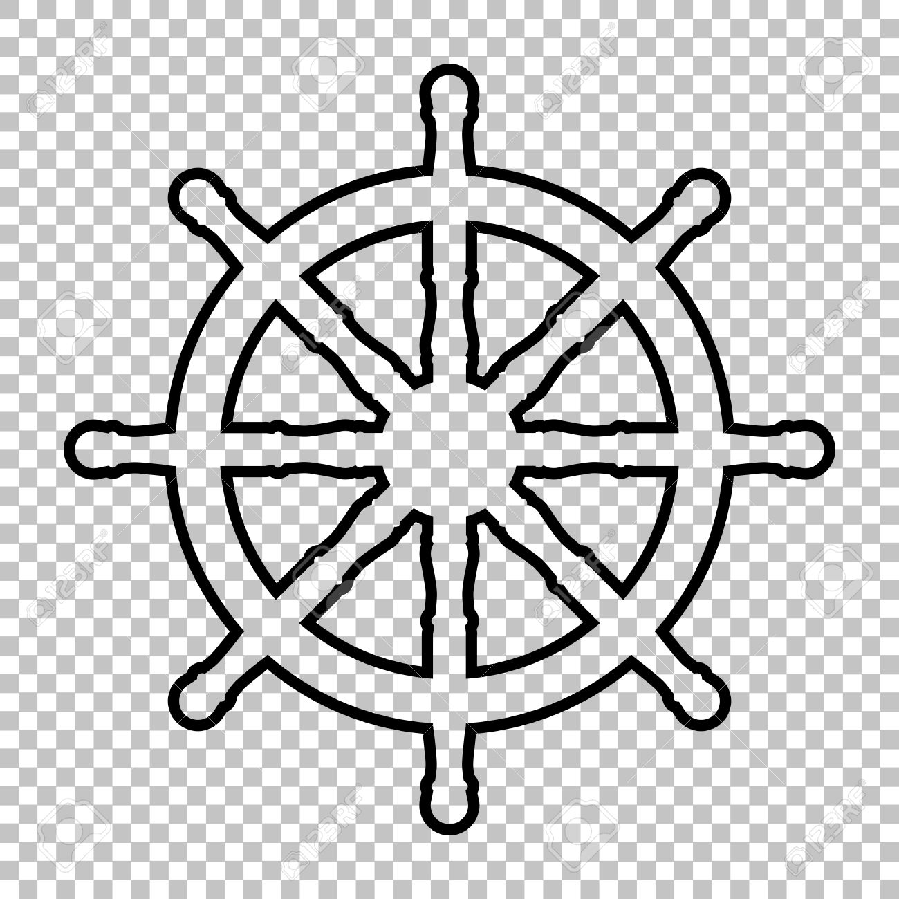 Ship Wheel Line Vector Icon On Transparent Background Royalty Free