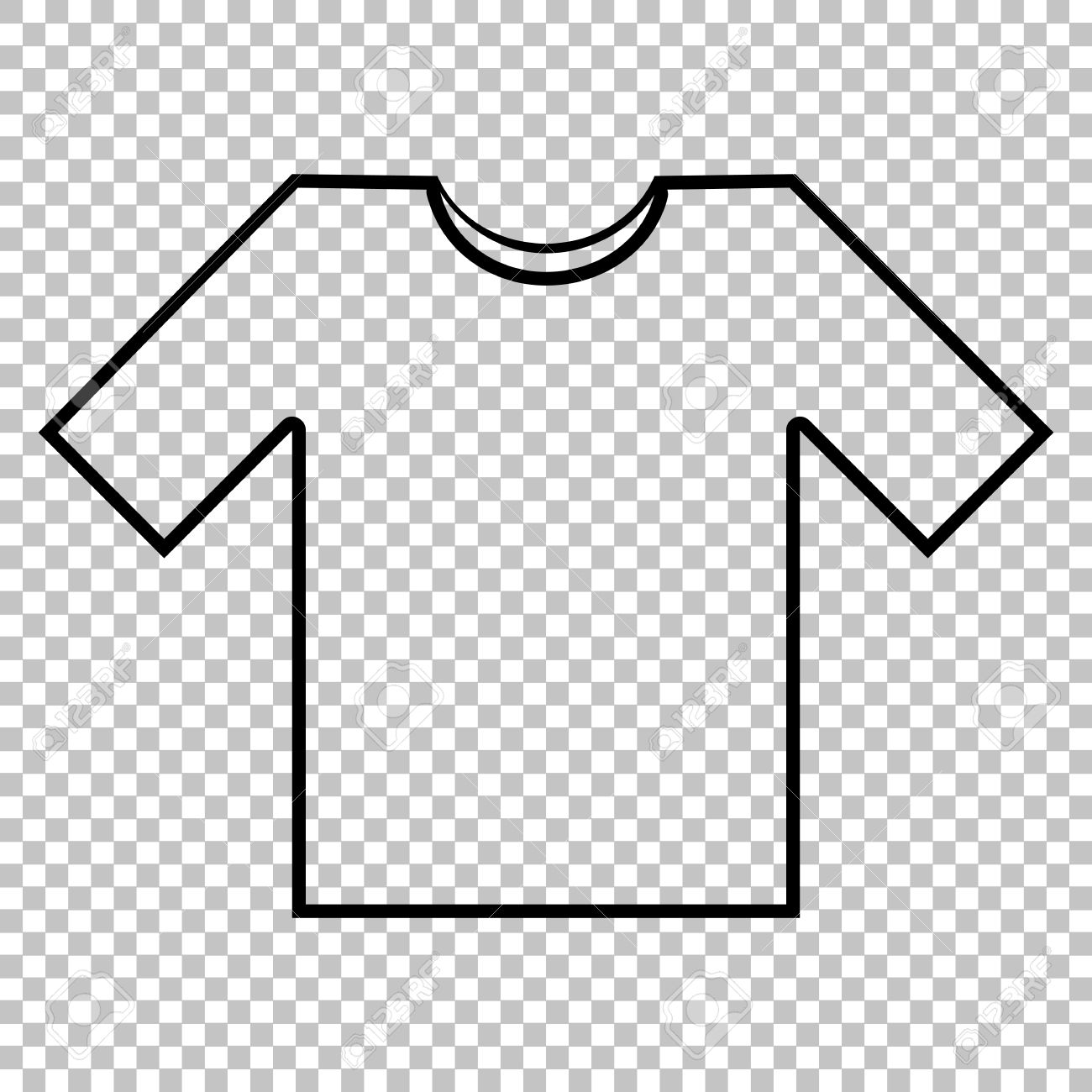 Black t shirt vector photoshop - T Shirt Line Vector Icon On Transparent Background Stock Vector 53564282