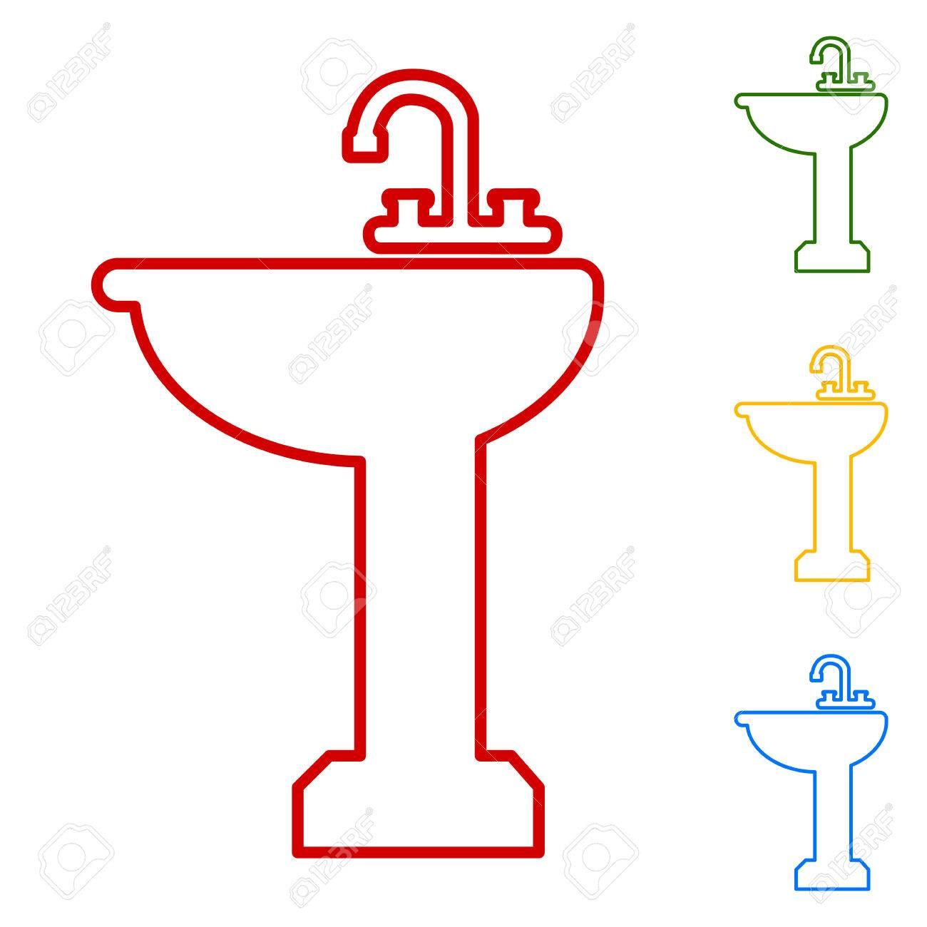 Badezimmer Waschbecken Set Linie Symbole Rot Grun Gelb Und Blau