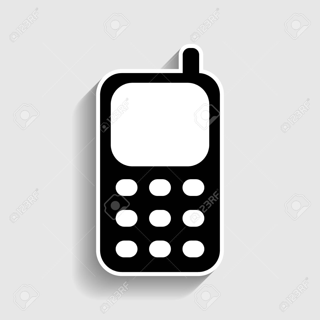 Cell Phone Icon. Sticker Style Icon With Shadow On Gray. Royalty Free Cliparts, Vectors, And Stock Illustration. Image 56378382.