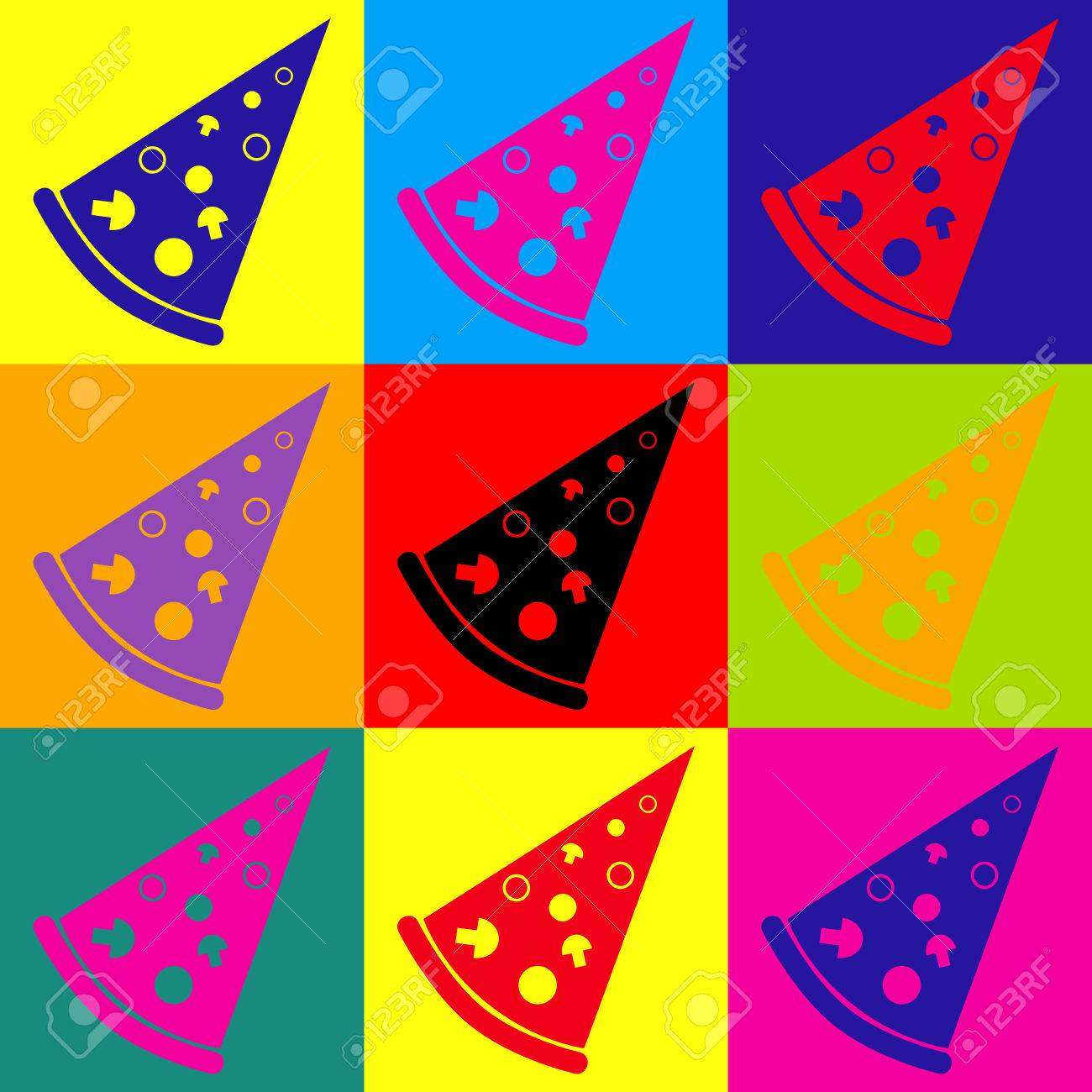 Pizza Simple Icon Pop Art Style Colorful Icons Set Royalty Free
