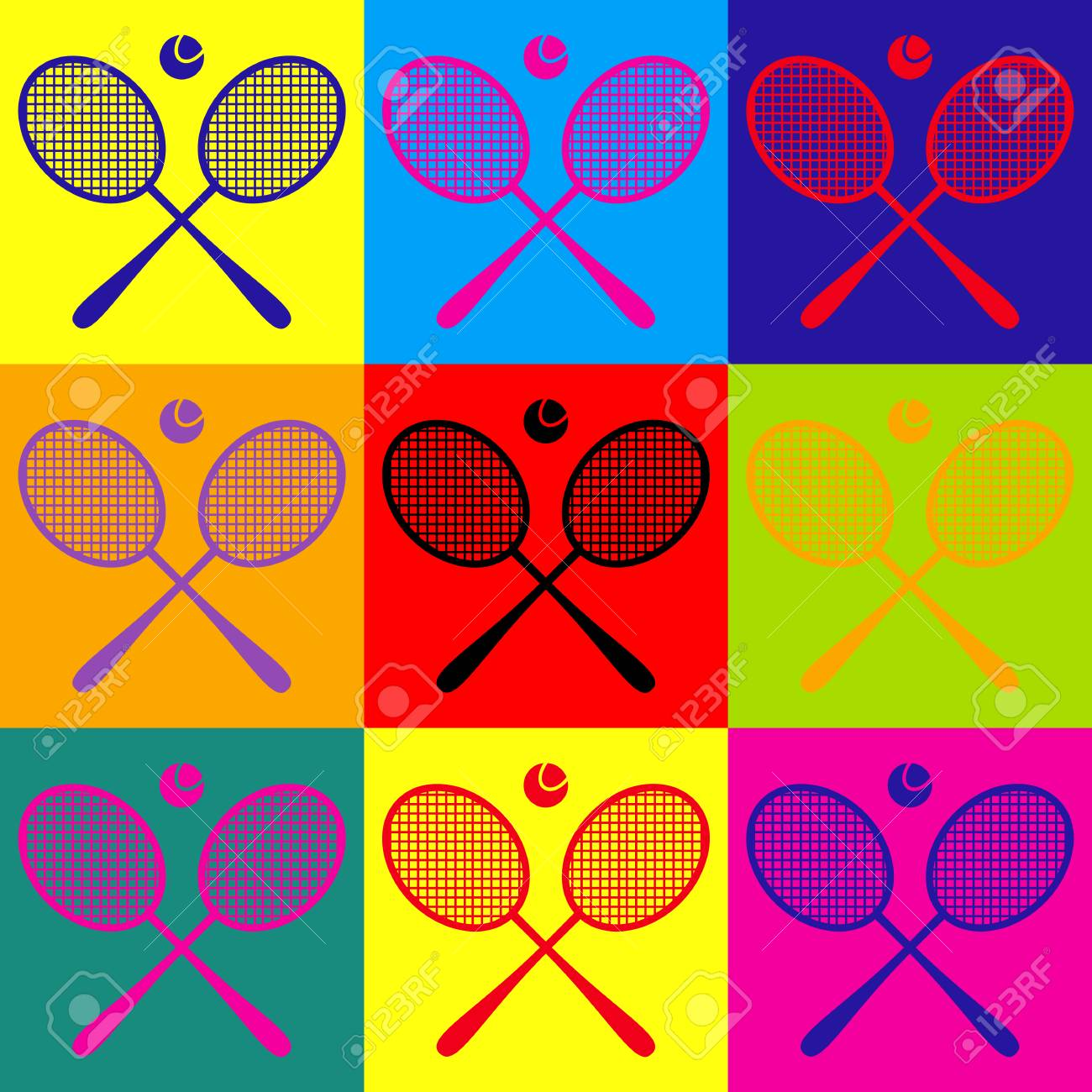 Tennis Racket Icon Pop Art Style Colorful Icons Set Royalty Free Cliparts Vectors And Stock Illustration Image 56661145