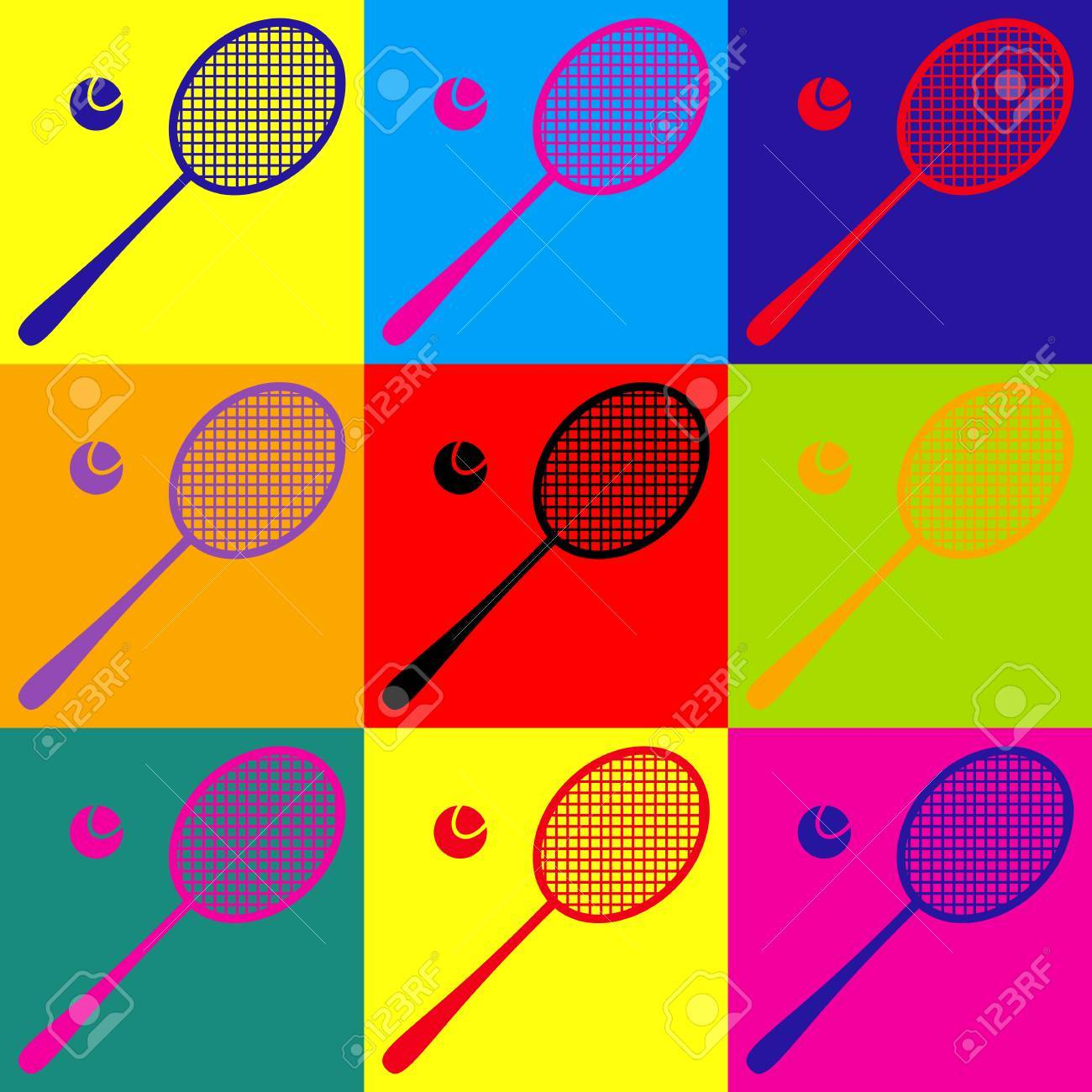 Tennis Racquet Icon Pop Art Style Colorful Icons Set Royalty Free Cliparts Vectors And Stock Illustration Image 56668888