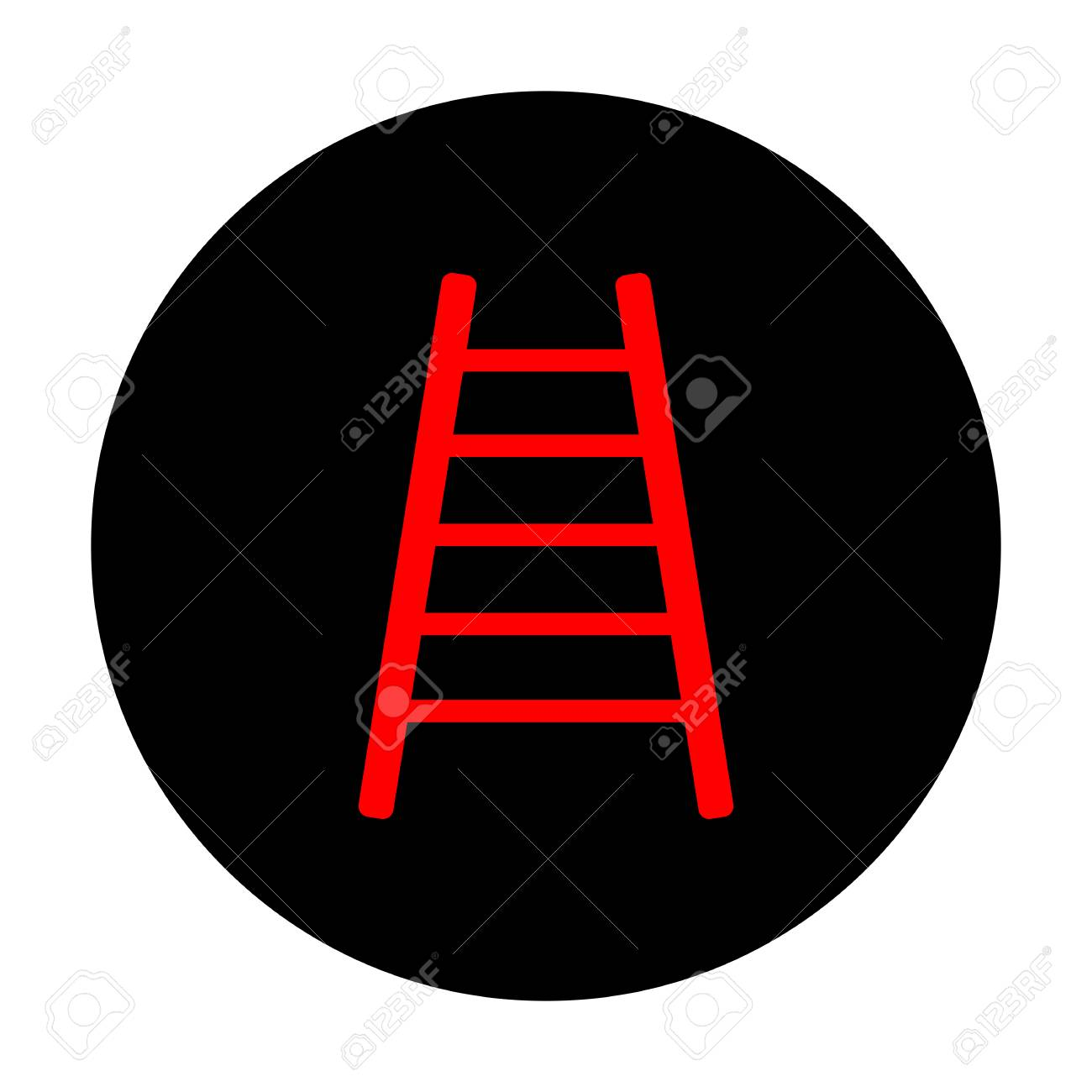 ladder sign. red vector icon on black flat circle. royalty free cliparts,  vectors, and stock illustration. image 56672796.  123rf