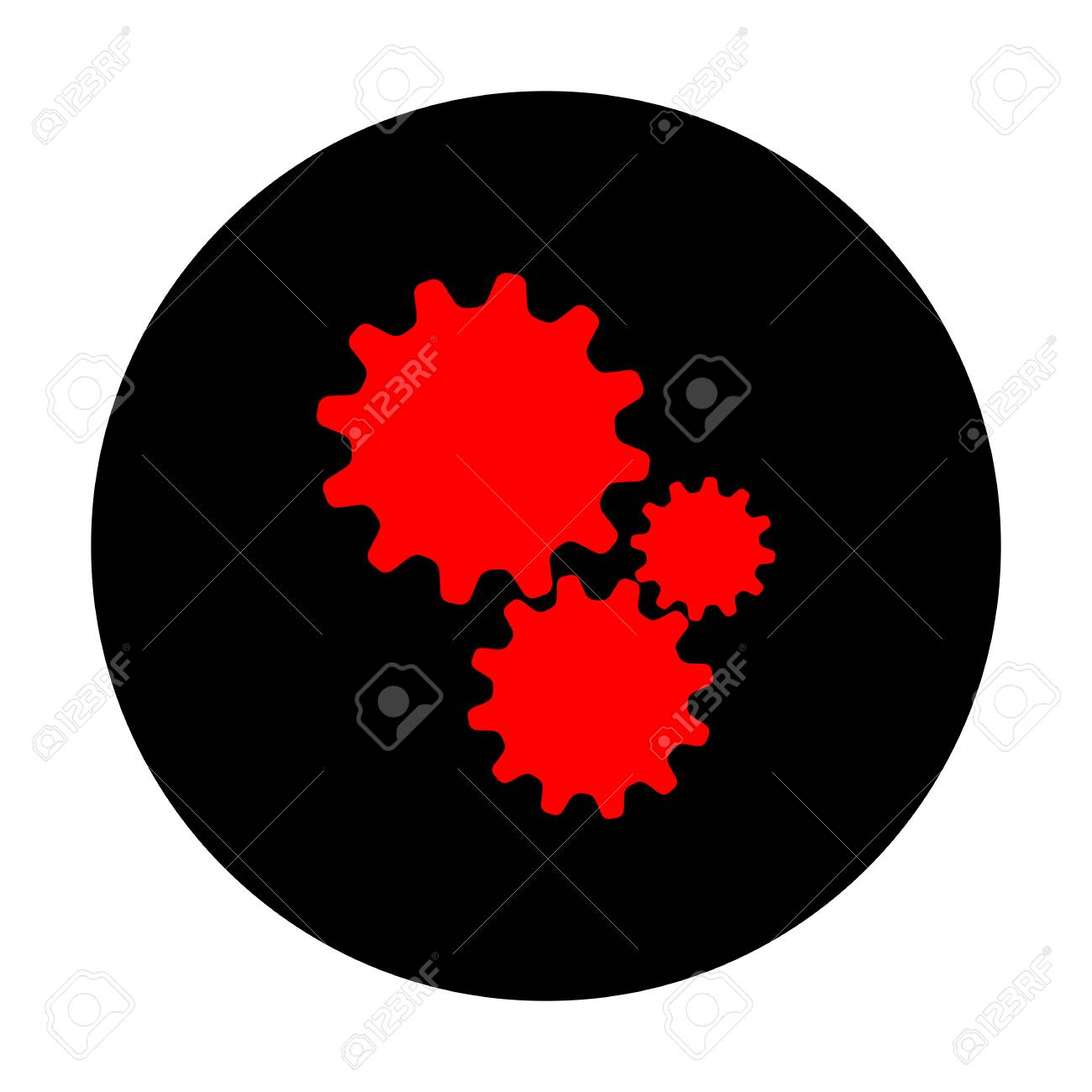 Settings Sign Red Vector Icon On Black Flat Circle Royalty Free Cliparts Vectors And Stock Illustration Image 56829923
