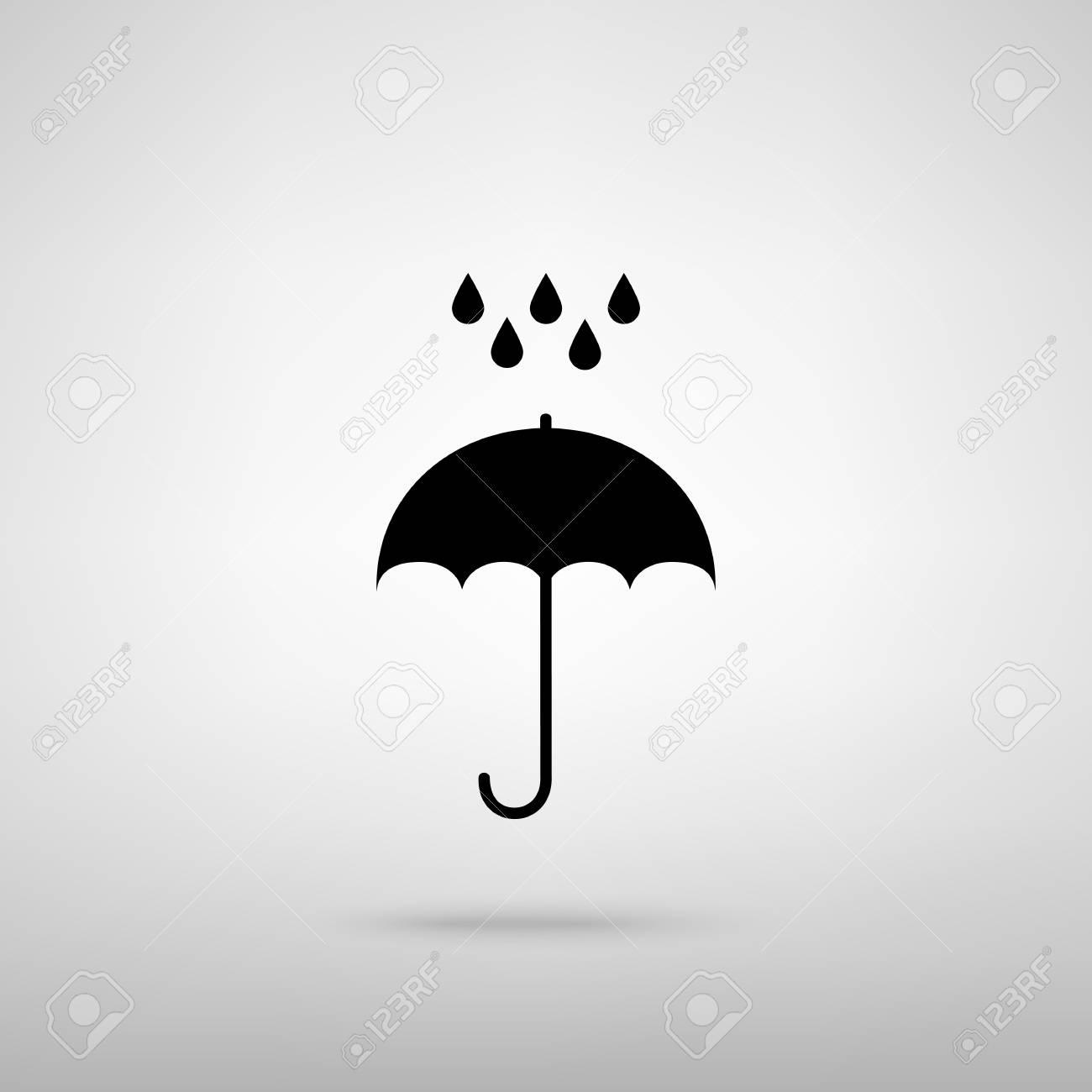 Paraguas Con Gotas De Agua Símbolo De Protección De Lluvia Estilo De Diseño Plano Negro Con Sombra En Gris Ilustraciones Vectoriales Clip Art Vectorizado Libre De Derechos Image 56606780