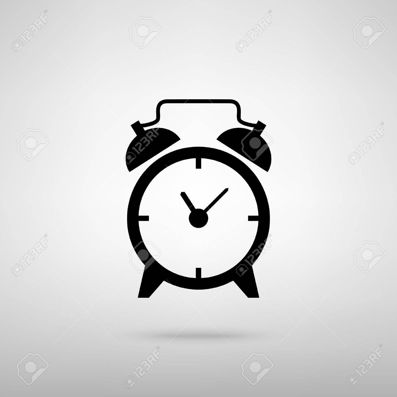 Alarm clock sign. Black with shadow on gray. - 56615333