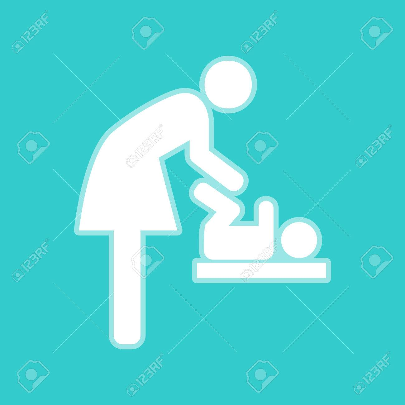 Symbol for women and baby baby changing white icon with whitish symbol for women and baby baby changing white icon with whitish background on torquoise biocorpaavc Gallery